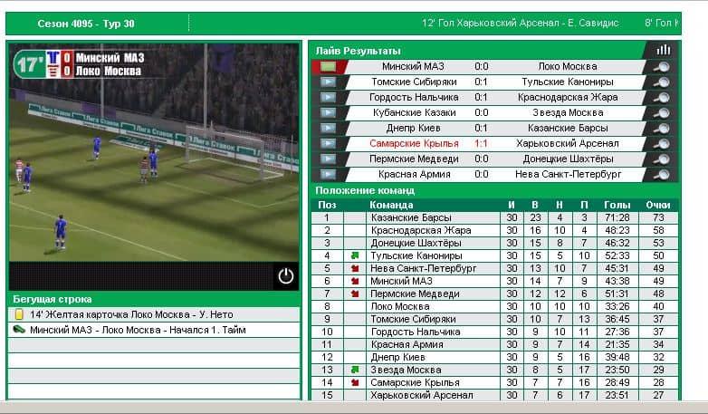 Виртуальный футбол лига ставок